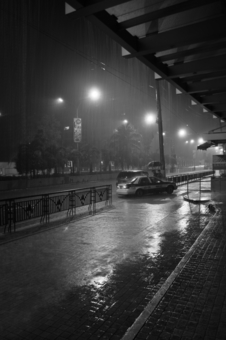 City of the Philippines on a rainy night