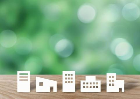 Building illustration and green background
