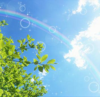 Processing of fresh green, blue sky and glitter rainbow