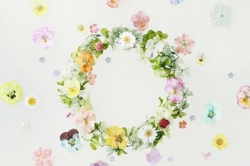 Flower ring of pressed flowers