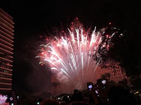 纪念新年的烟花在美国洛杉矶