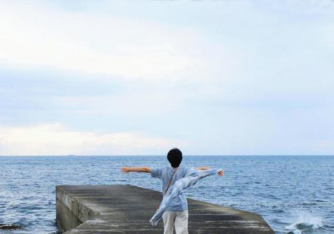 Deep breathing towards the sea 2