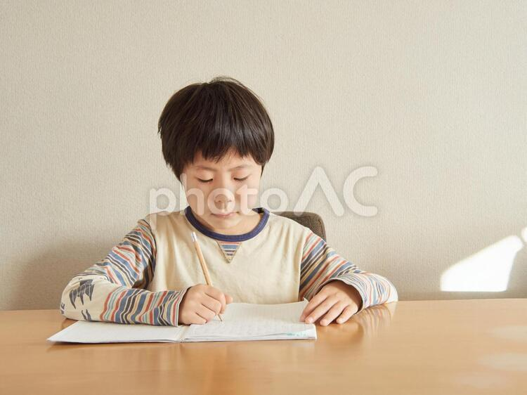 宿題をする小学生の写真