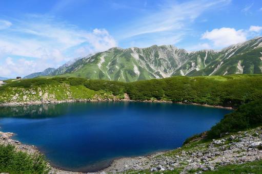 중부 산악 국립 공원, 여름 무로 평. 미쿠리가 연못에서 다테야마를 희망한다. 도야마, 일본. 8 월 하순.