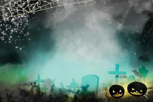 Halloween graveyard, cobweb and bat background image / fantasy, dark image