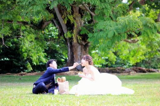 Bride and groom eating photo wedding potato and hamburger