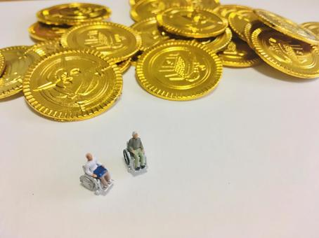Elderly people and coins