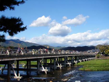 Kyoto Arashiyama Togetsu Bridge in the autumn leaves season