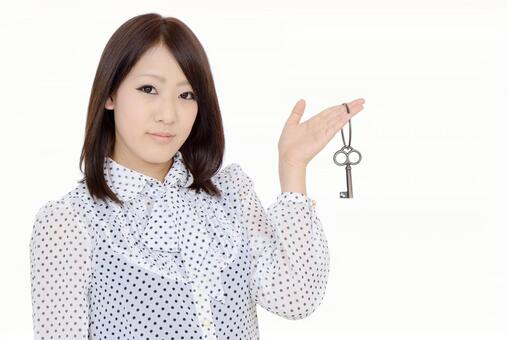 A woman with a key
