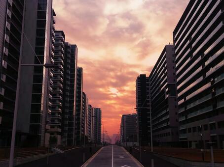 Evening twilight of Tokyo 2020 Olympic Village PORT VILLAGE (3 blocks)