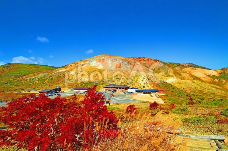 秋色の浄土平 空が近いの写真