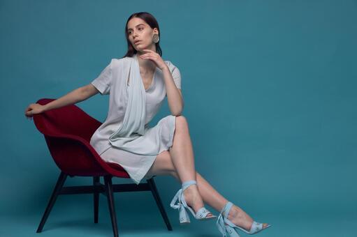 Female model fashion portrait (blue back) 58