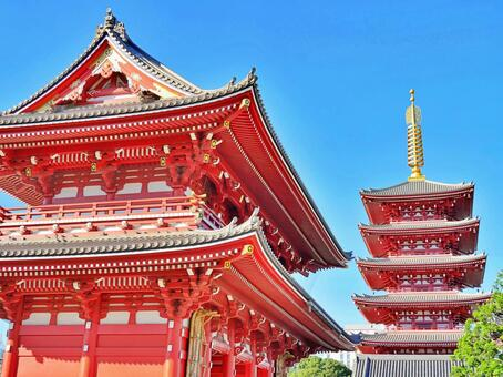 Sensoji Temple 25 Five-storied Pagoda and Hozomon