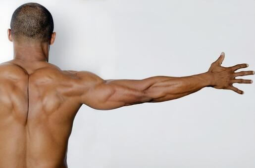 Rear appearance of a muscular man 1