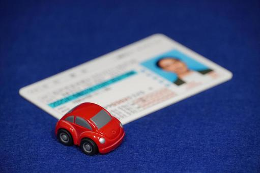 Driver's license red minicar blue back