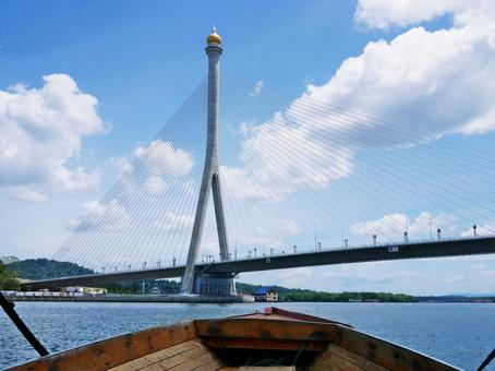 RIPAS bridge on the Brunei River in Brunei as seen from the boat