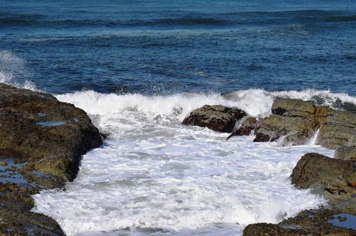 Rough waves of Shonai beach Sea of Japan