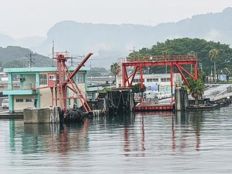 Scenery of the ferry terminal at Yamakawa Port in Ibusuki City, Kagoshima Prefecture