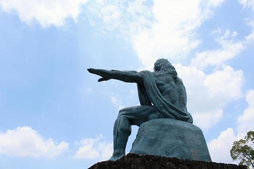 평화 기념상 뒷모습 나가사키 현 나가사키시 007
