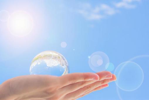 手,太阳和地球