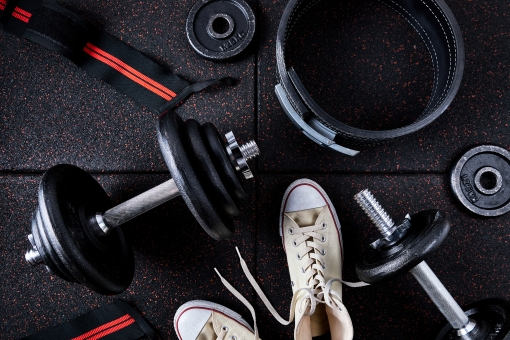 Muscle training goods on the rubber mat