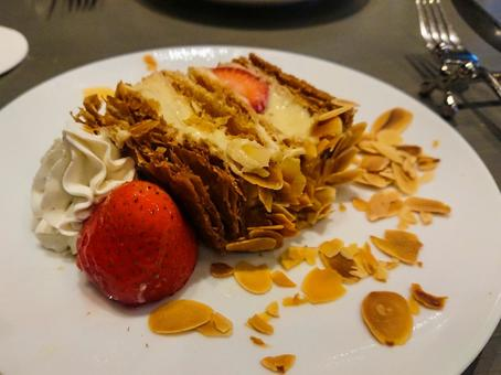 Strawberry millefeuille close-up