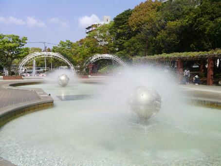 噴水で瞑想