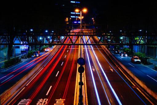 Metropolitan Expressway entrance and laser beam