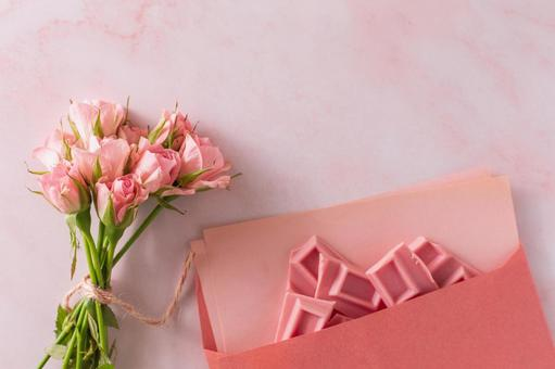 Pink image roses and chocolate