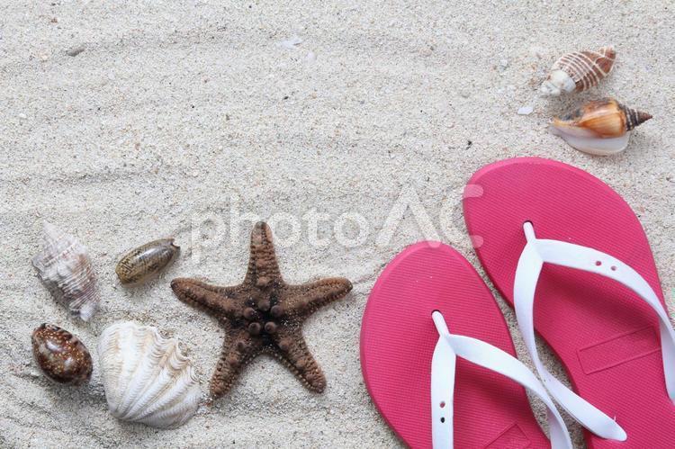 ビーチサンダルと貝殻1の写真