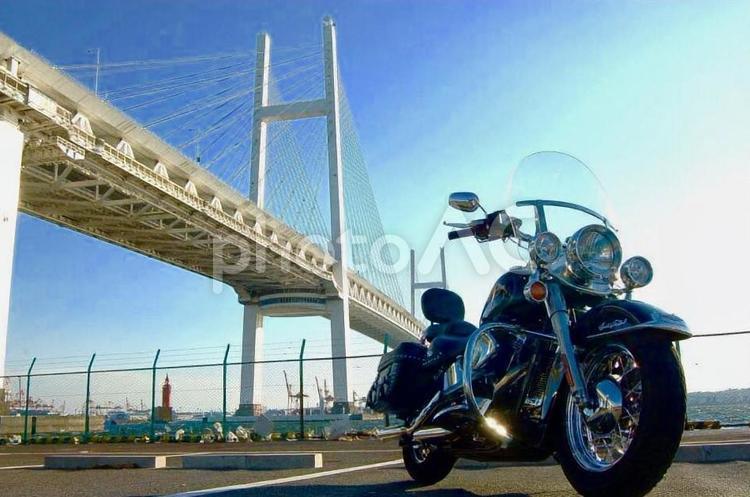 ハーレーと横浜ベイブリッジの写真