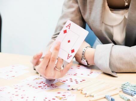 A woman with cards