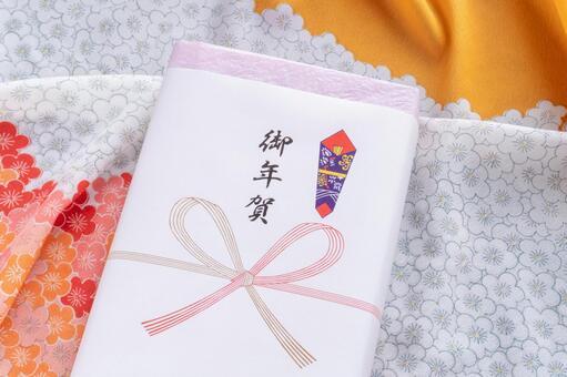 New Year's greetings and plum pattern furoshiki