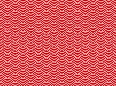 Japanese pattern texture Aoumi wave Pink line to red ground