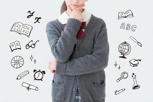[Cutout PSD] Thinking female student