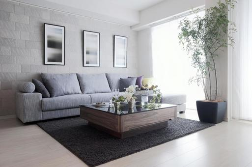 Living room with a large couch sofa