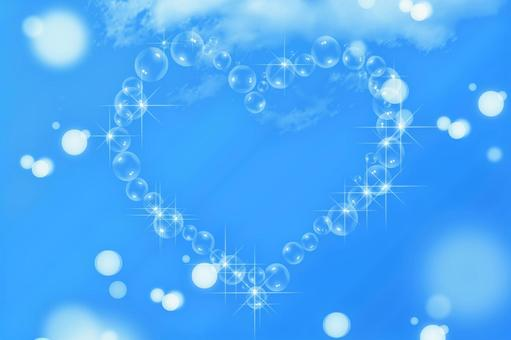 Blue sky and heart soap bubbles   Title background material