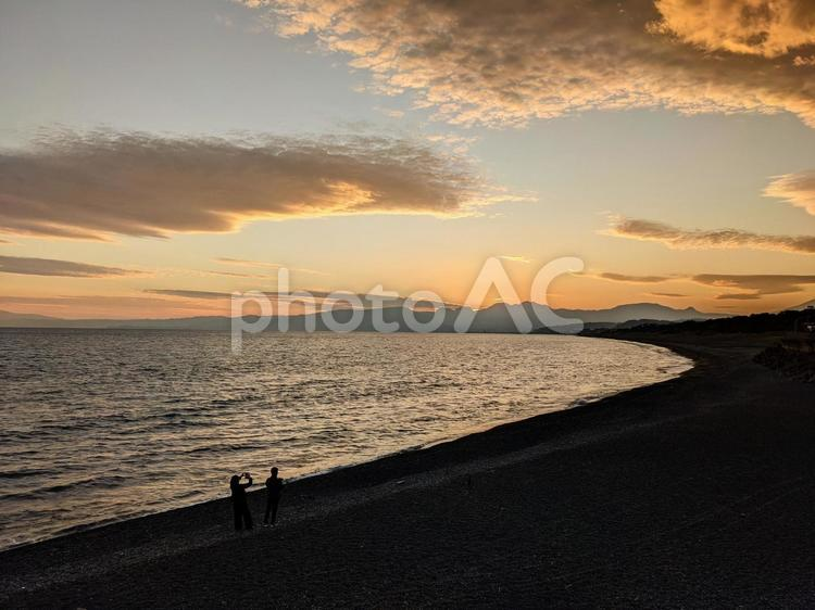 大磯照ヶ崎海岸の夕焼けの写真