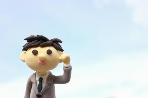 Blue sky and businessman 1