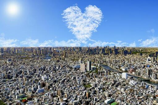 Cloud of heart and light of hope on the sky in Tokyo