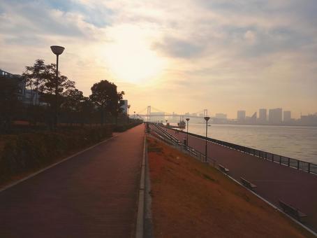 Rainbow bridge distant view from Toyosu Gururi Park, Tokyo