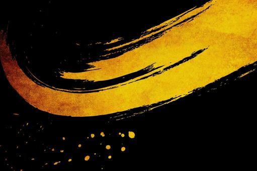 Gold leaf and abstract brush letters | Japanese style black background material