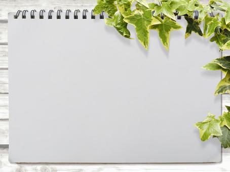 Sketchbook and Shiraki material and green