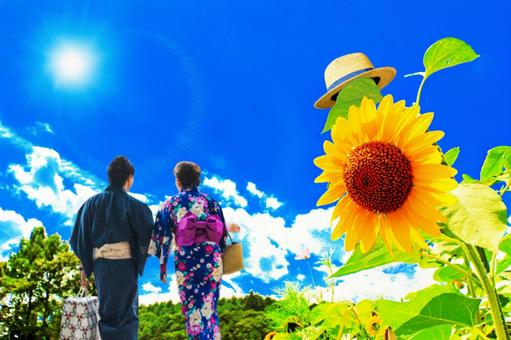 Summer Yukata in the country and sunflower