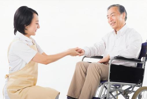 A wheelchair male and a caregiver 1