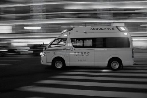 During emergency driving (3rd frame) Monochrome version