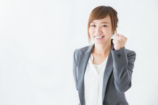 Guts pose business woman