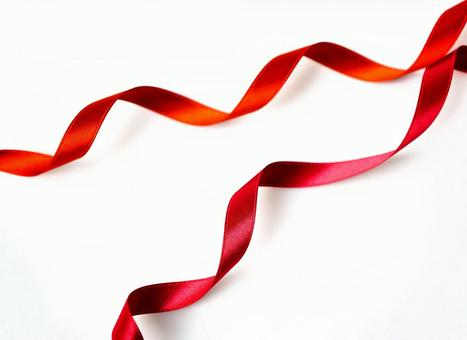 Red ribbon and white background 【6】
