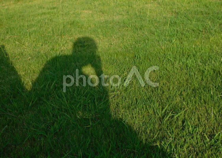 草場で考え事の写真