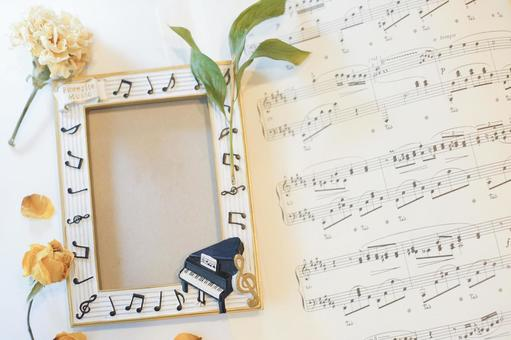 Piano frame and sheet music